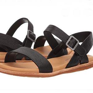 KORK-EASE Black 'Yucca' Leather Sandals